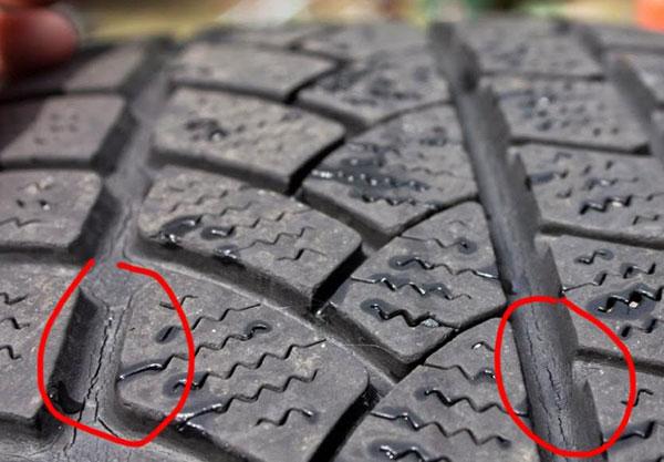 Lốp xe ba gác có vết nứt
